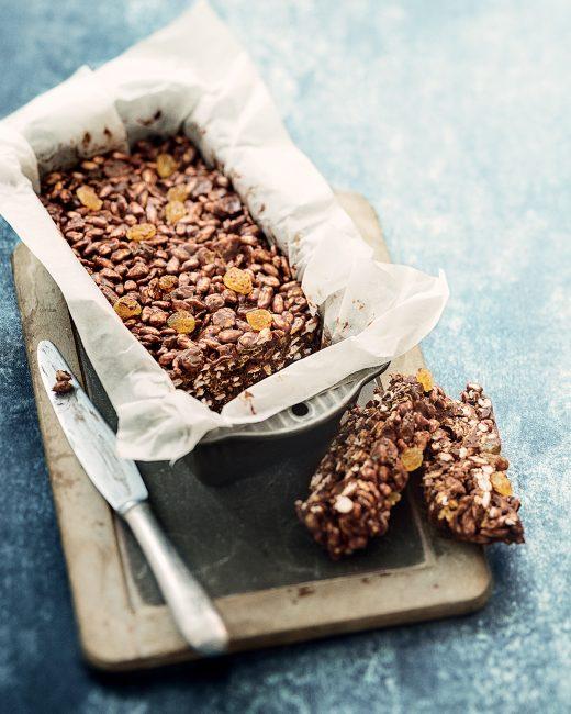 recette au chocolat - barres aux cereales chocolat et raisins secs