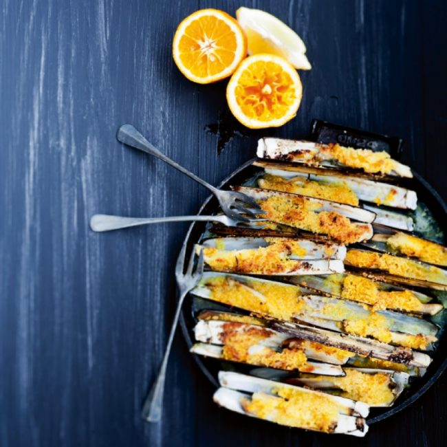 Couteaux de mer au beurre d'agrumes