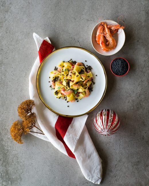 recettes de pâtes aux lentilles et aux crevettes