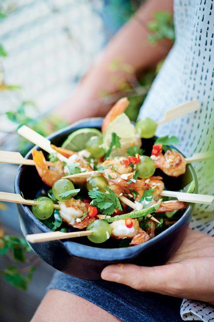 recette de brochettes de crevettes