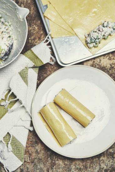Recette végétarienne : cannellonis au chèvre frais et au brocoli